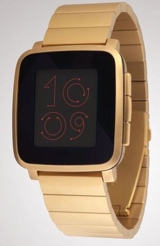 pebble time steel gold strap