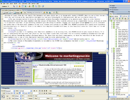 Dreamweaver MX2004 screenshot